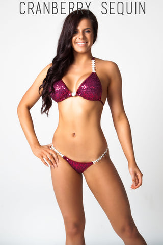 dark red sequin fitness competition bikini