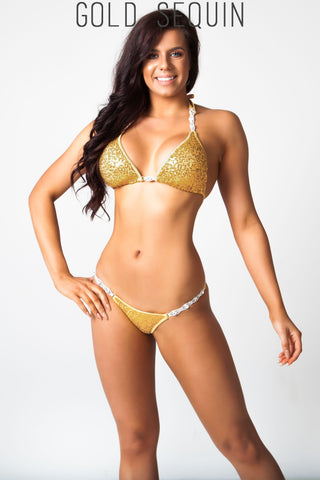 gold sequin fitness competition bikini