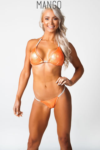 orange fitness competition bikini, lauren simpson
