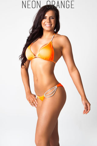 neon orange fitness competition bikini
