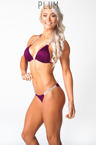 purple fitness competition bikini, lauren simpson