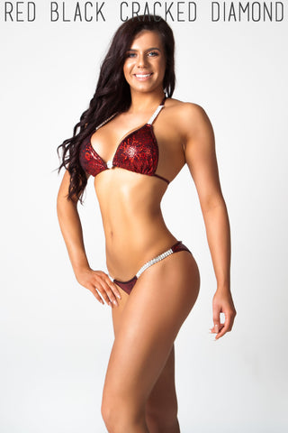 dark red fitness competition bikini