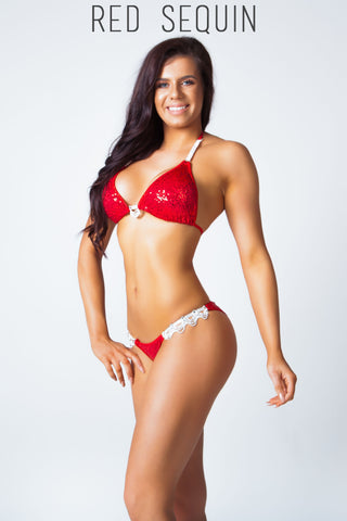 red sequin fitness competition bikini