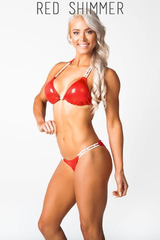 red fitness competition bikini, lauren simpson