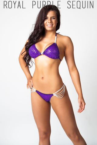 purple sequin fitness competition bikini