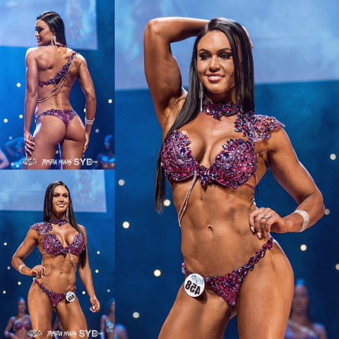 Purple and Pink WBFF Competition Bikini