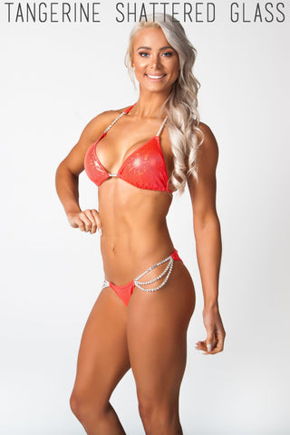 red competition fitness bikini, lauren simpson