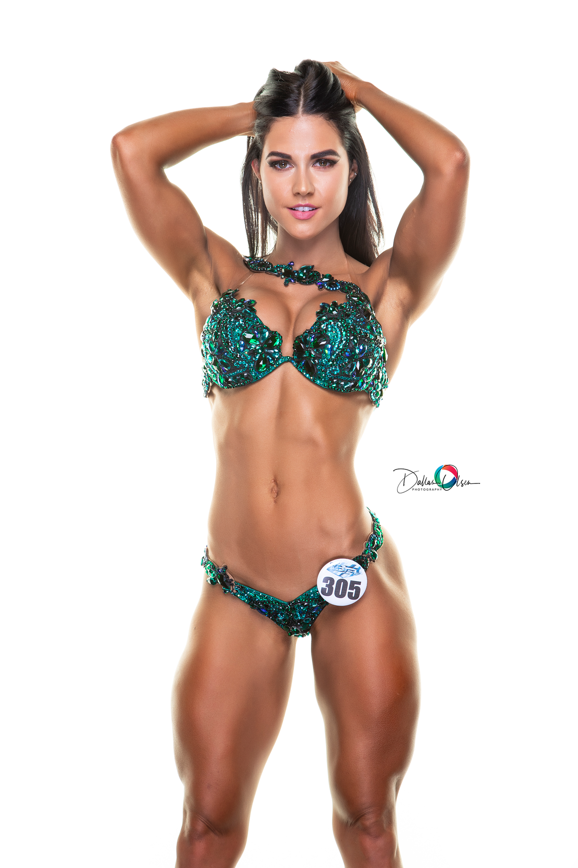 Sharelle grant WBFF green couture competition bikini