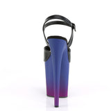 FLAMINGO-809BP Blk Faux Leather/Blue-Purple Ombre