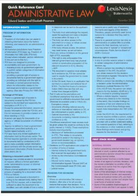 ADMINISTRATIVE LAW QUICK REFERENCE CARD 2ND EDITION