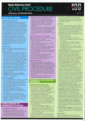 CIVIL PROCEDURE: QUICK REFERENCE CARD