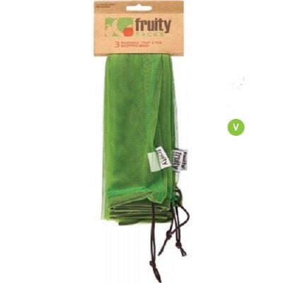 FRUITY SACKS Reusable Fruit & Veg Shopping Bags -3 pk