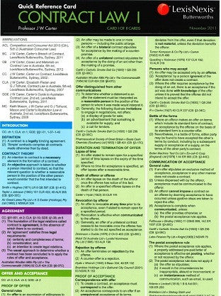 CONTRACT LAW I QUICK REFERENCE CARD