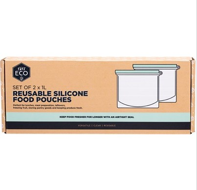 EVER ECO Reusable Silicone Food Pouches Set Of 2 X 1L 2