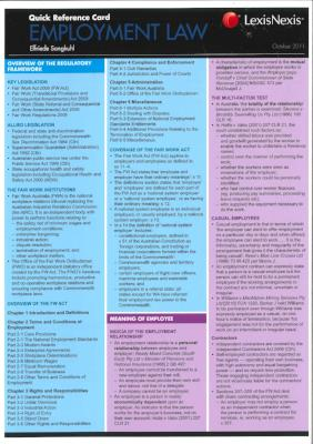 EMPLOYMENT LAW QUICK REFERENCE CARD