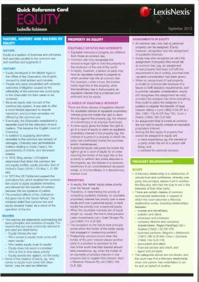 EQUITY QUICK REFERENCE CARD