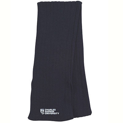 CDU CABLE KNIT SCARF - NAVY - Charles Darwin University Bookshop