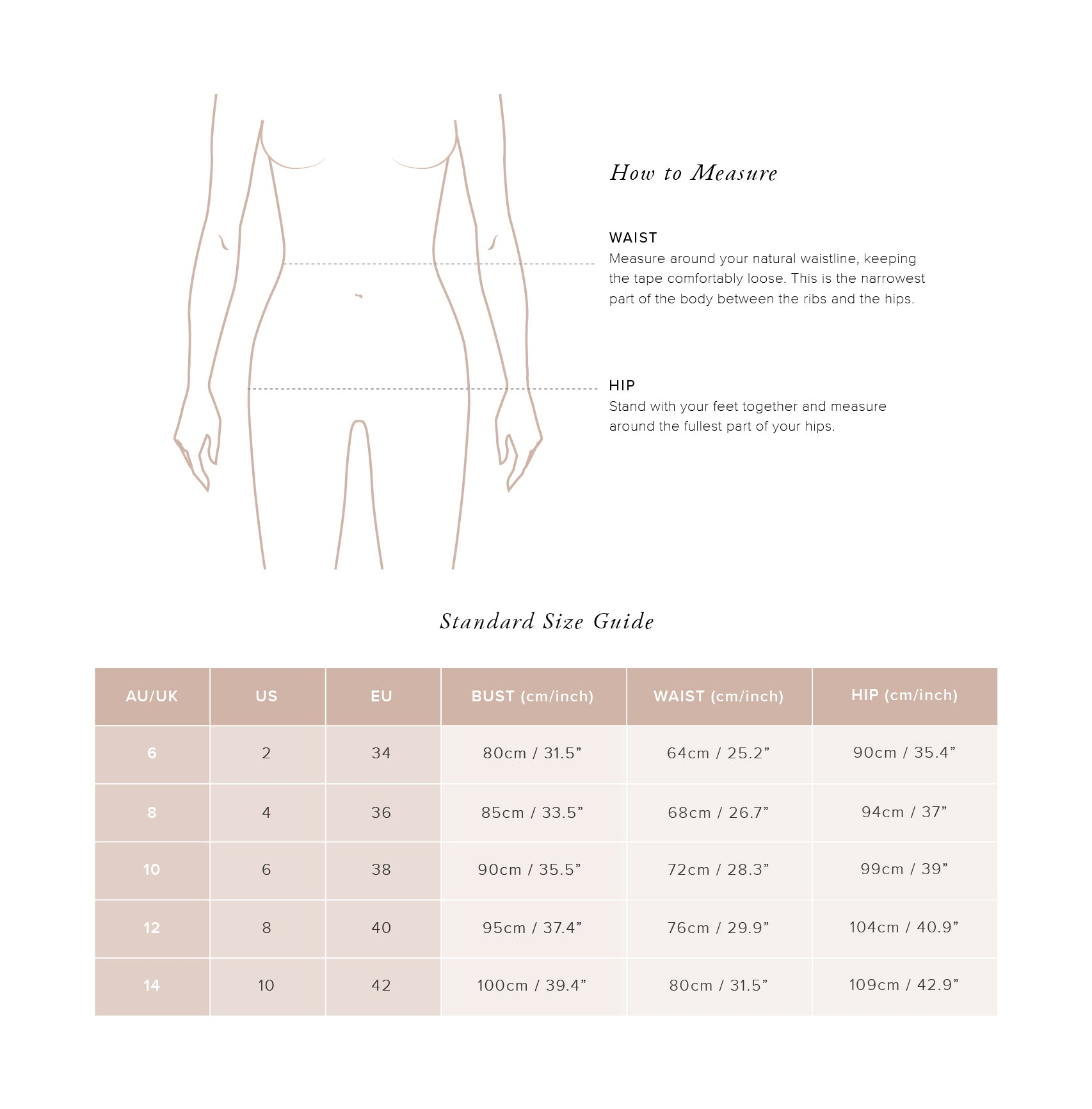 Size Guide Bottoms - Auguste The Label