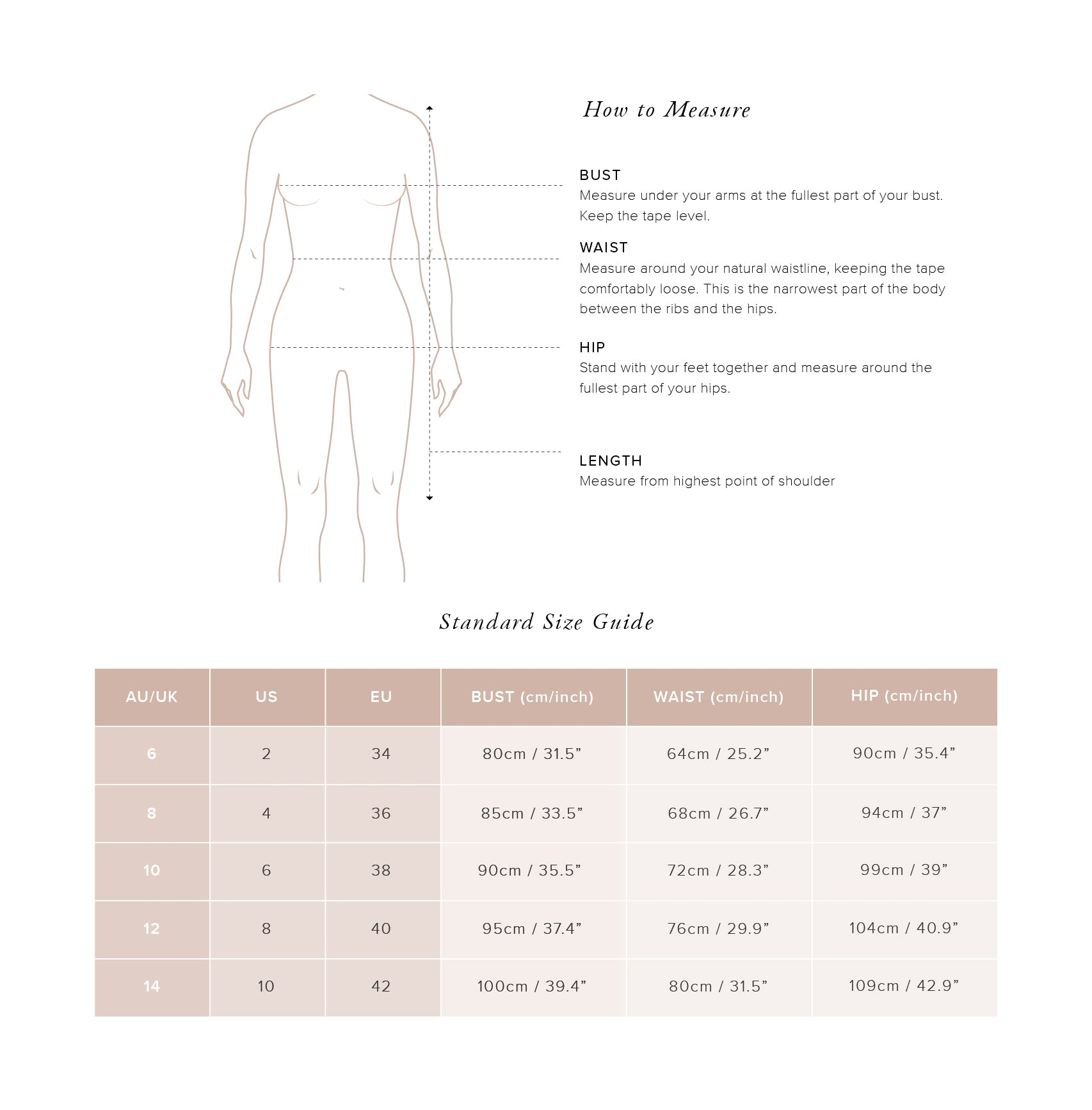 Size Guide Dresses - Auguste The Label
