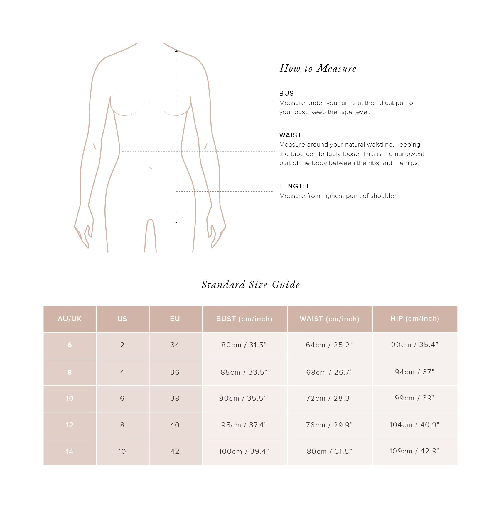 Size Guide Tops - Auguste The Label