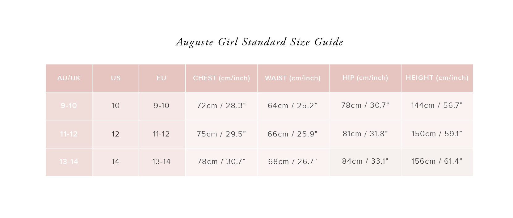 Auguste Girl Size Guide - Auguste The Label
