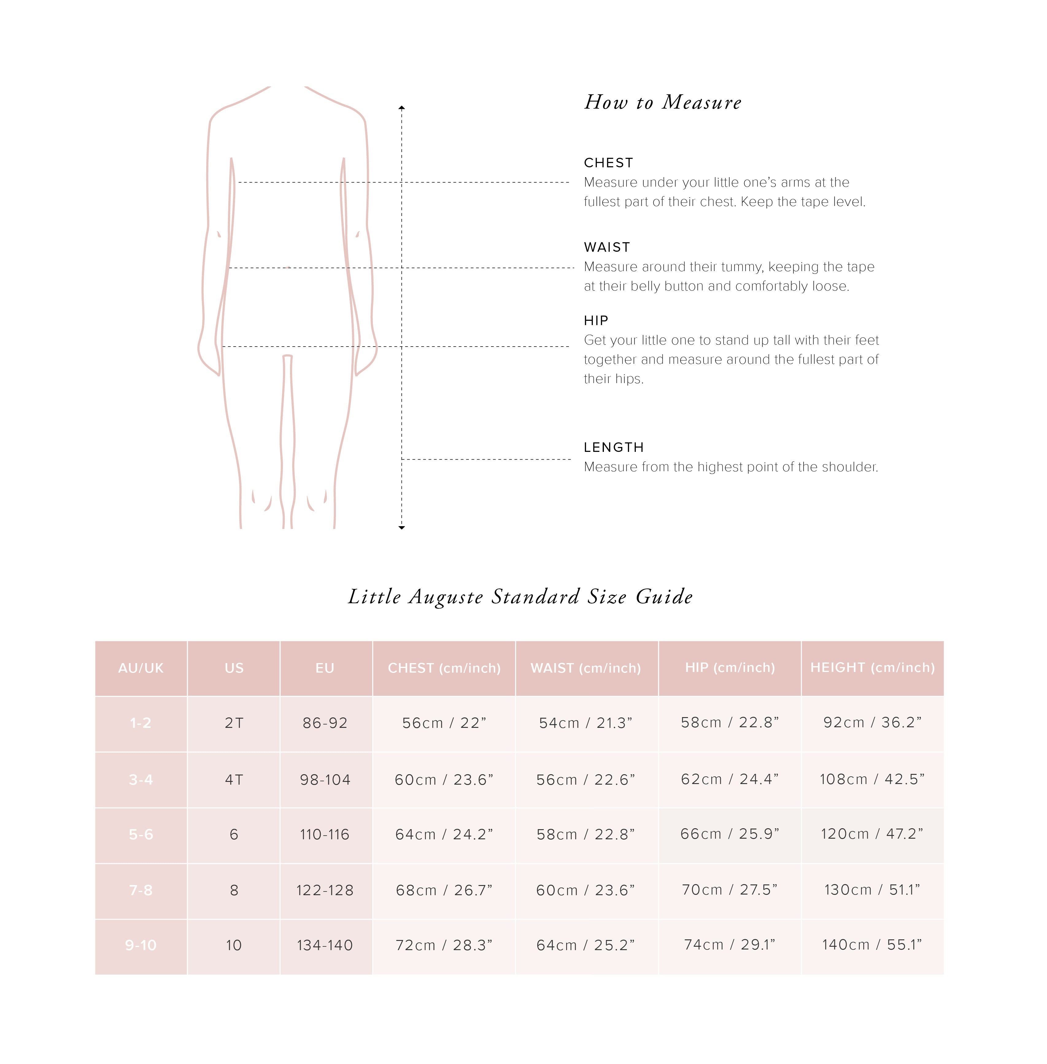 Little Auguste Size Guide - Little Dresses