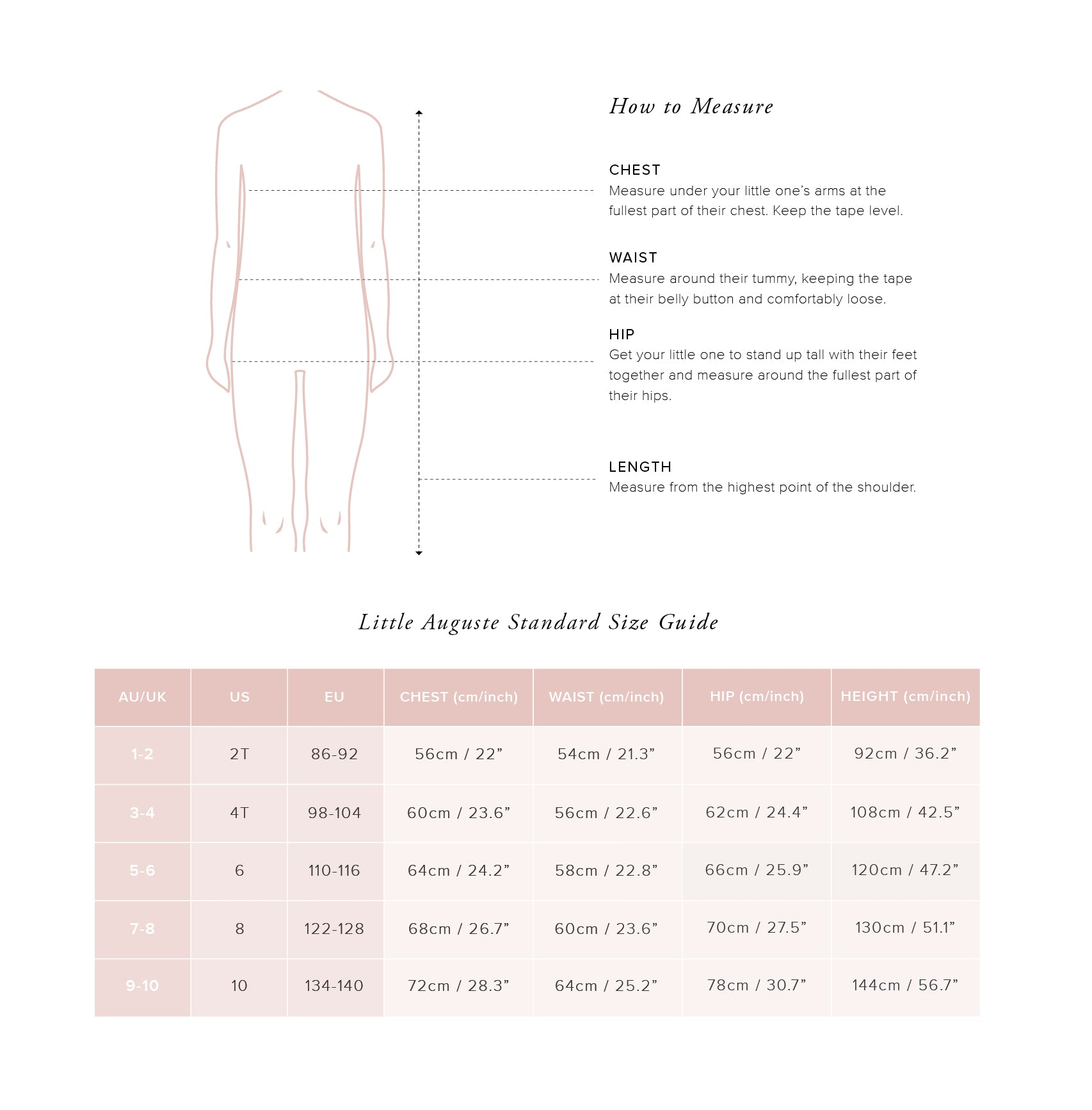 Little Auguste Size Guide - Little Standard