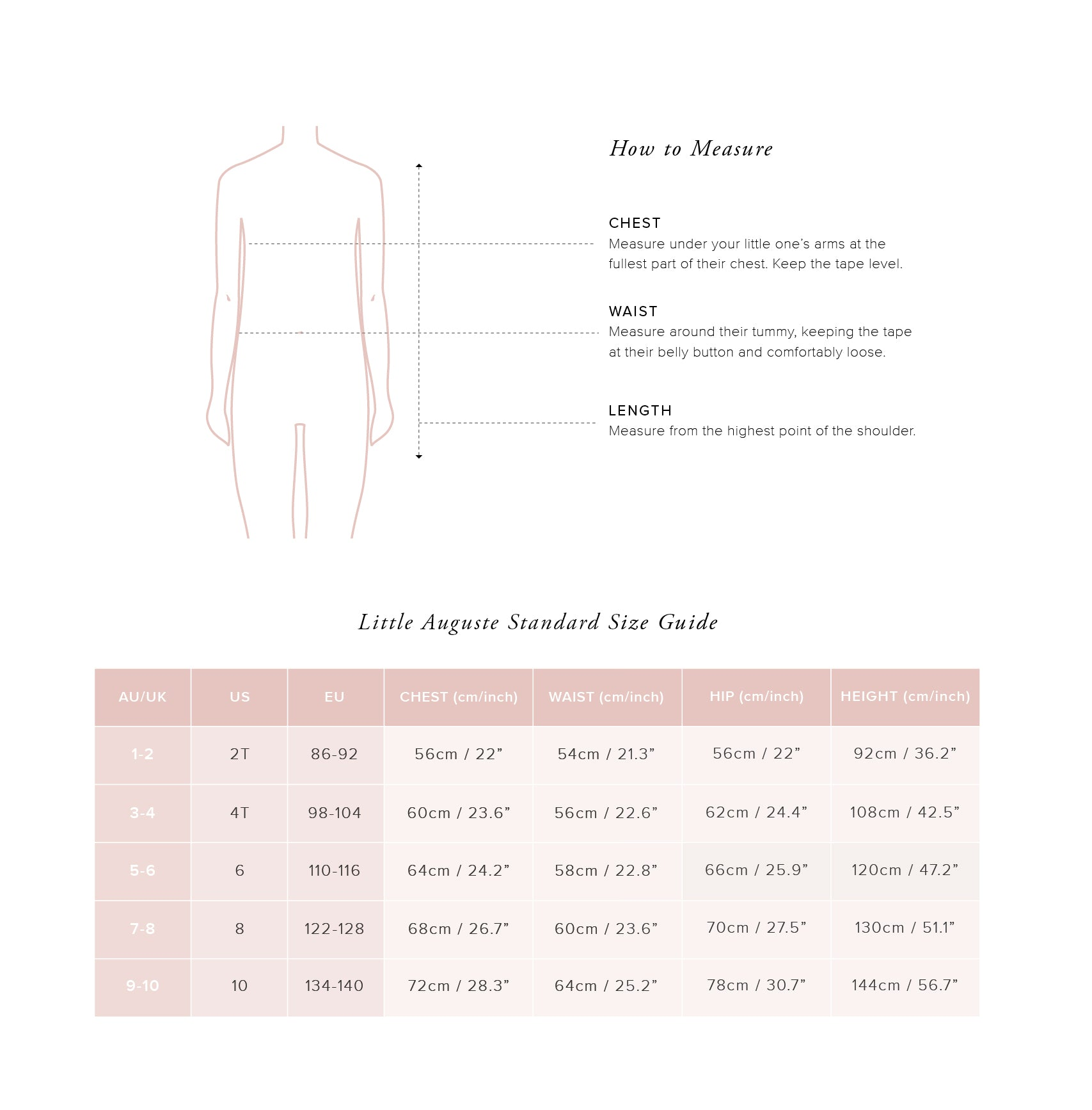Little Auguste Size Guide - Little Tops