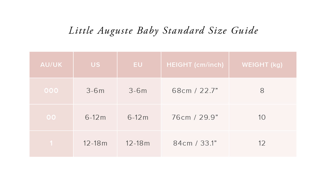 Size Guide Little Auguste Baby - Auguste The Label