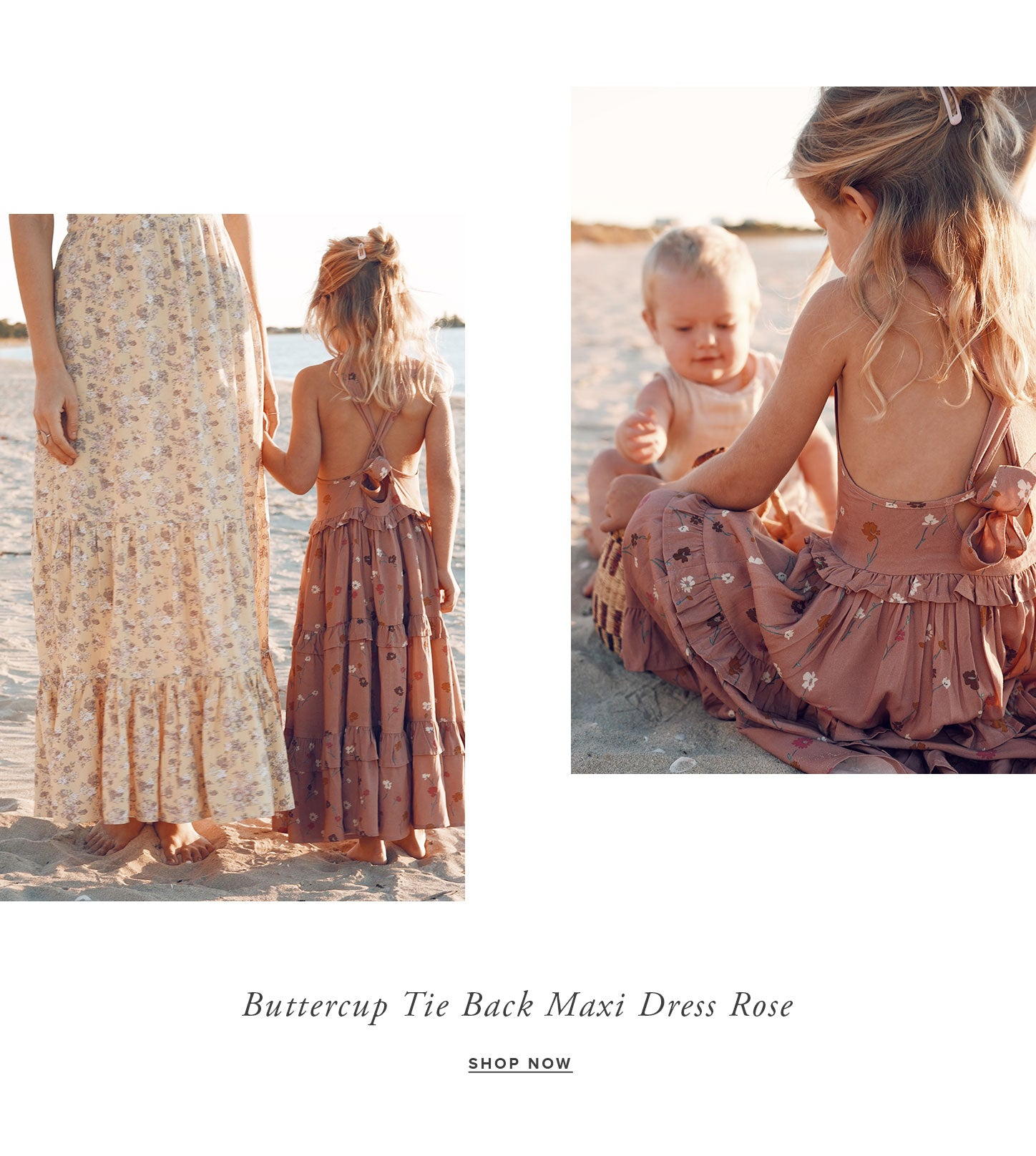 Buttercup Tie Back Maxi Dress Rose