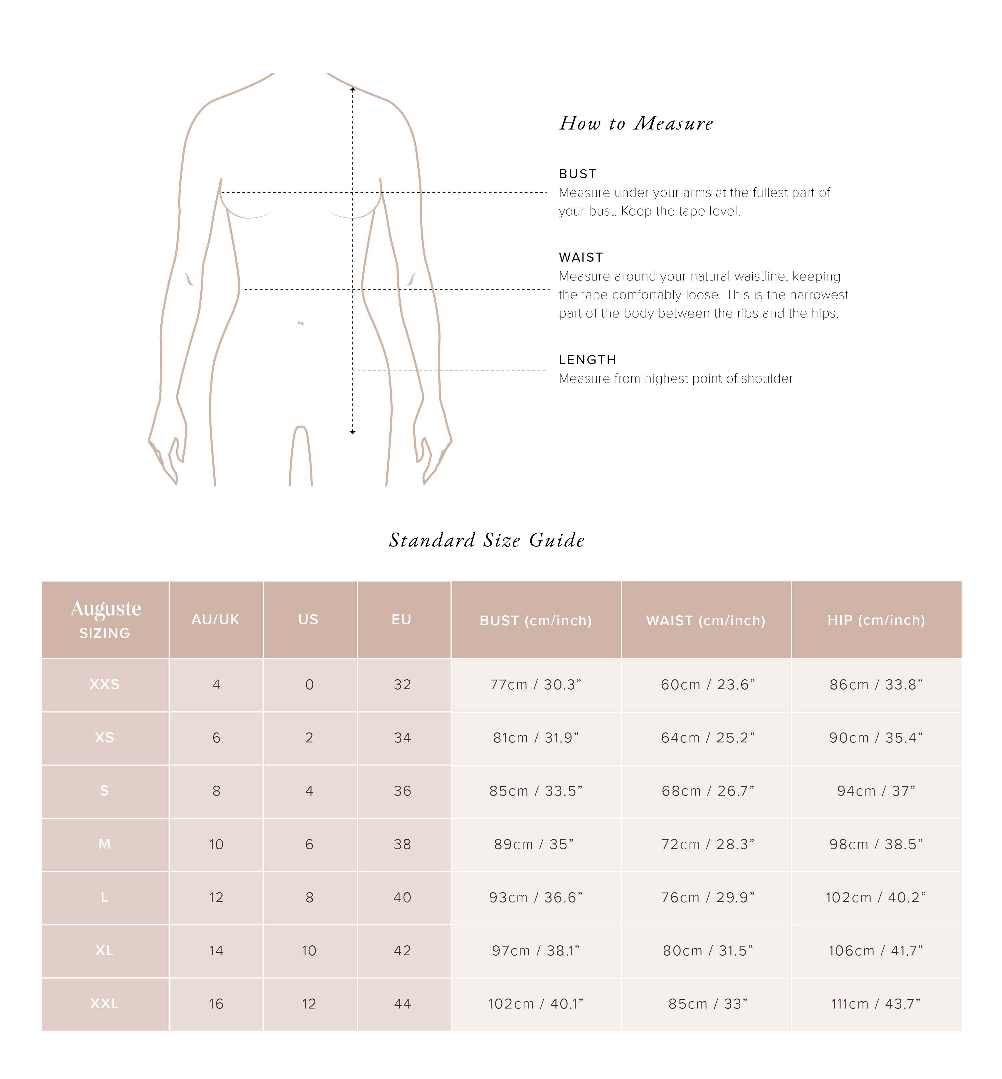 Auguste Size Guide - Tops