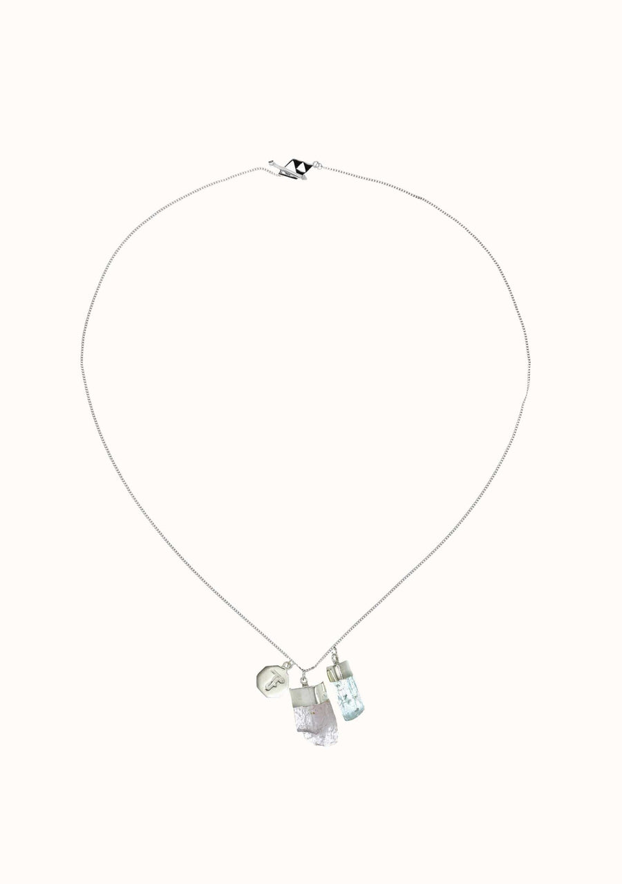 TIGER FRAME Aquamarine Kunzite Charm Necklace Silver
