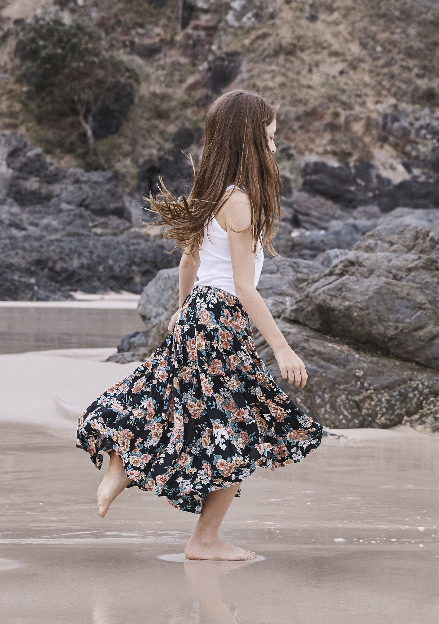 Little Miss Maxi Skirt Boho Blooms Black