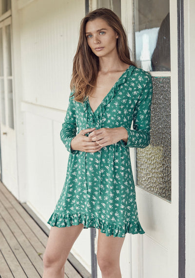Ava Sunday Long Sleeve Mini Dress Sage - Auguste The Label