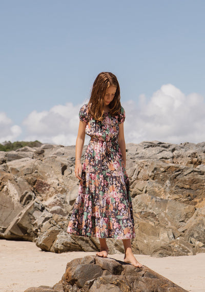 Grace Maxi Dress Longbeach Floral Charcoal - Auguste Girl - Auguste The Label