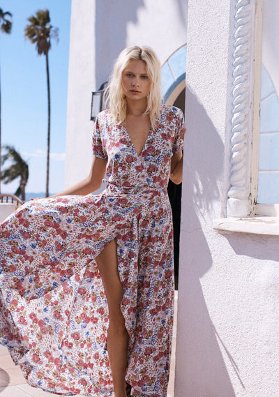 Super Bloom Valley Wrap Maxi Dress Natural - Auguste The Label