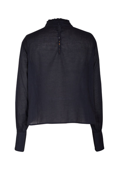 Twiggy Embroided High Neck Blouse Black - Auguste The Label