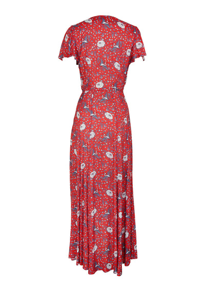 Valentina Fiesta Wrap Maxi Dress Red - Auguste The Label