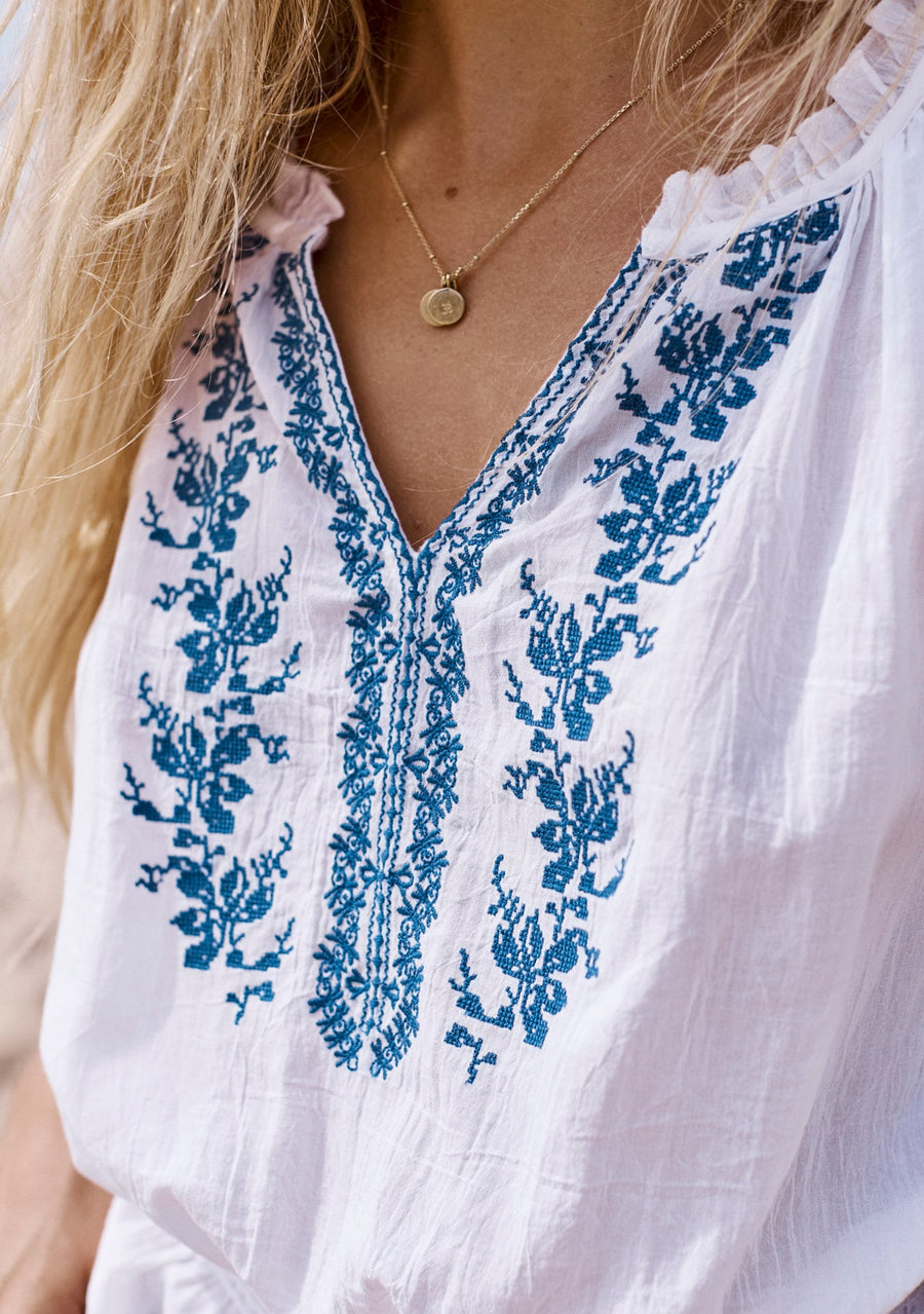 Ivy Embroidered Blouse White