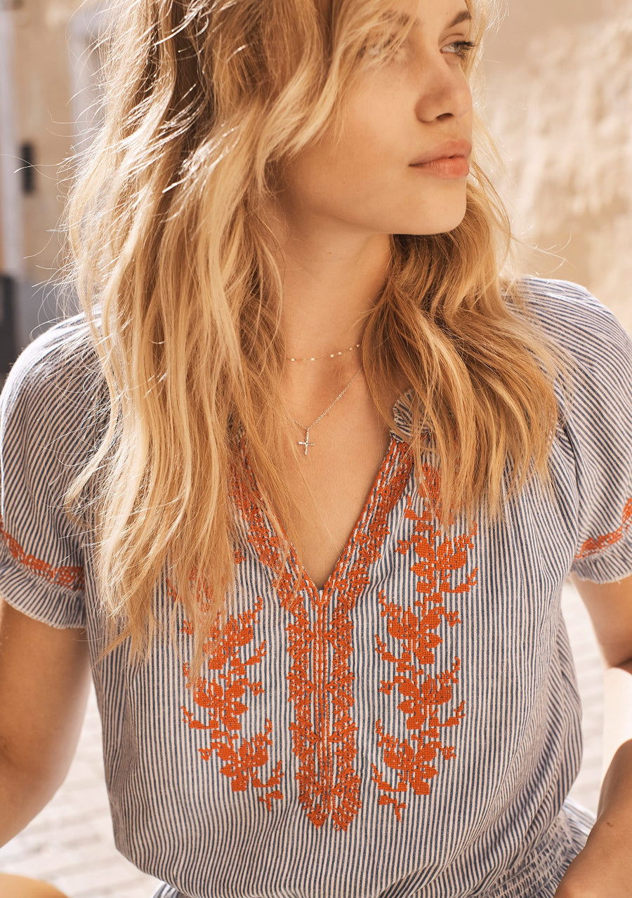Ivy Embroidered Blouse Stripe