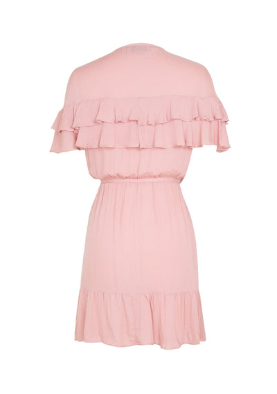 Agnes Cascade Wrap Mini Dress Blush - Auguste The Label