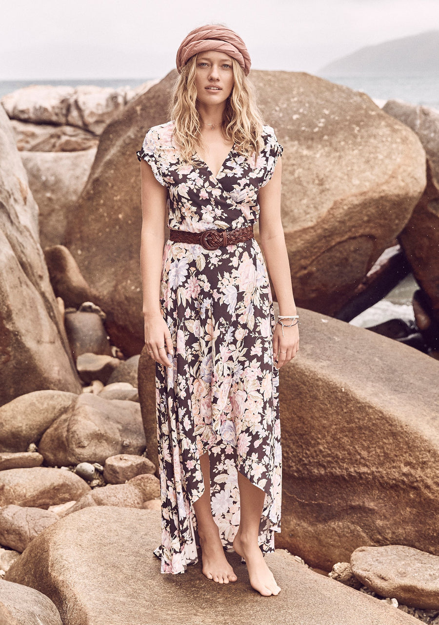 New Romance Petal Wrap Maxi Dress Black