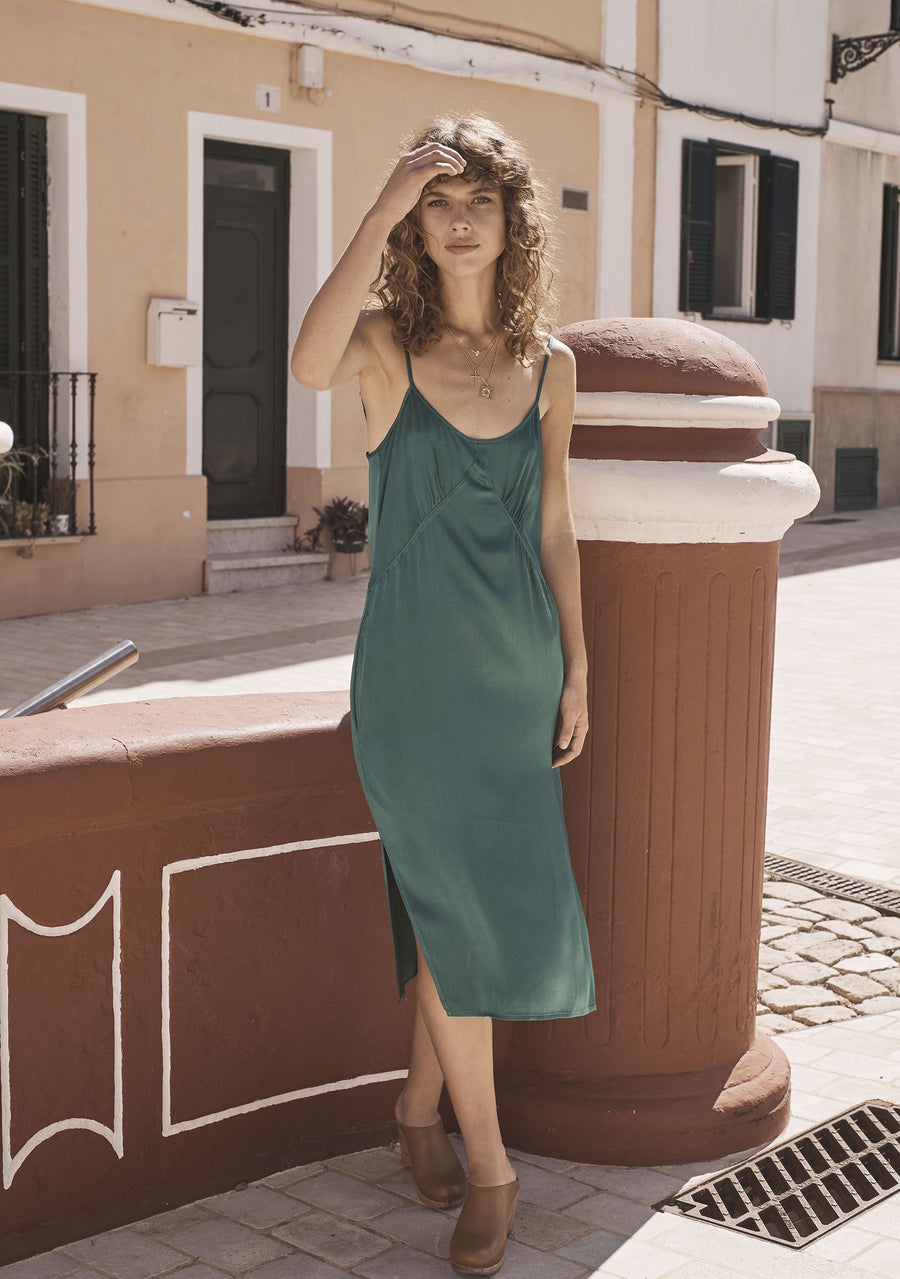Harper Slip Dress Emerald Green