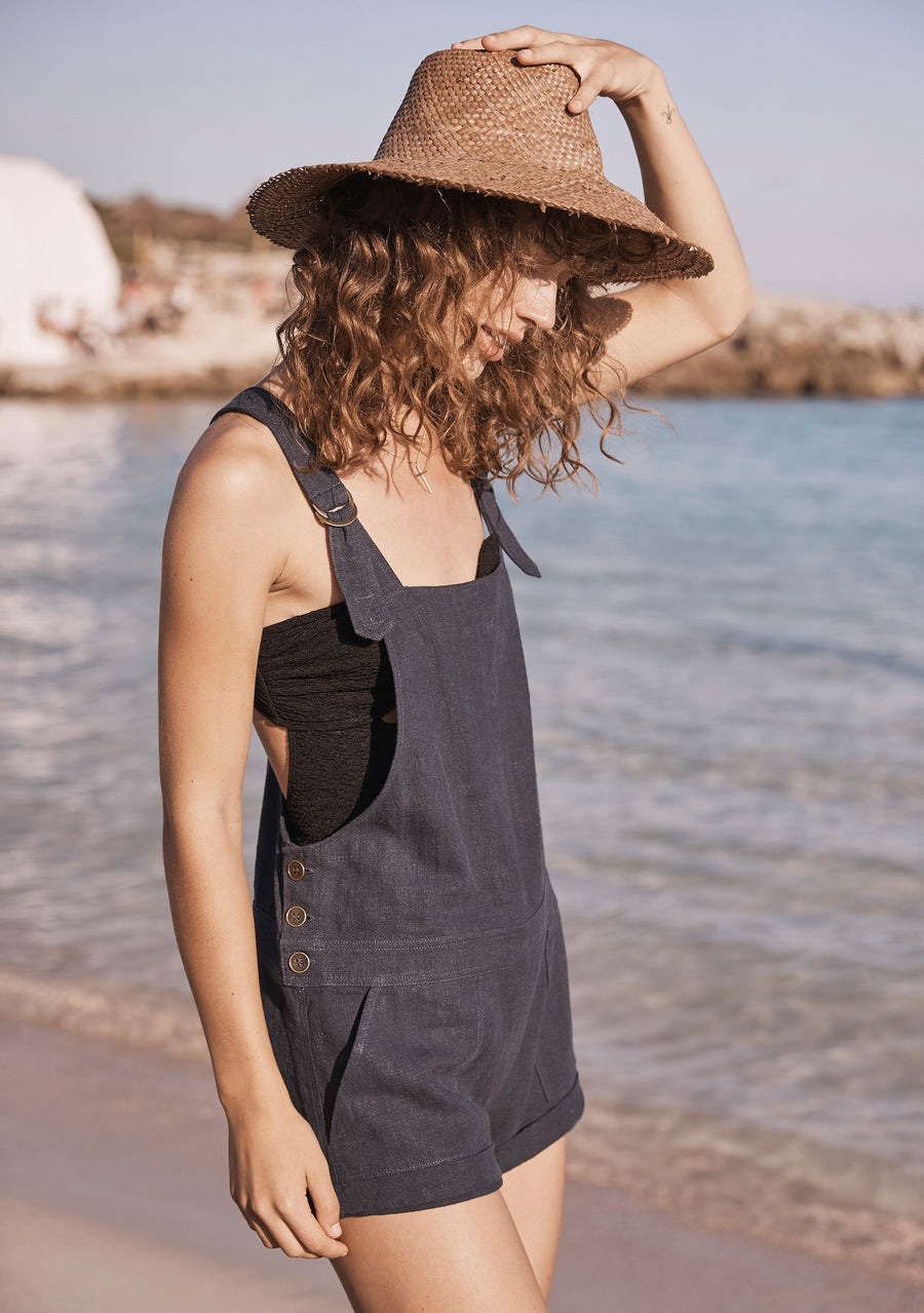 Lucy Short Overalls Navy Blue