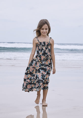 Little Miss Princess Maxi Dress  Boho Bloom Black