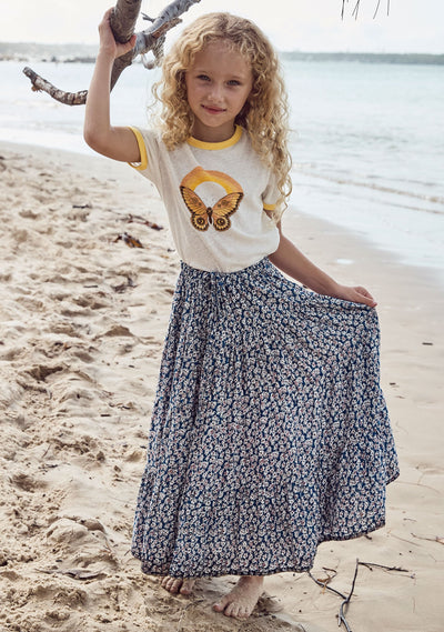 Little Miss Maxi Skirt Daisy Floral Navy - Auguste The Label