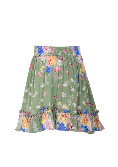 Frilled Hem Mini Skirt Eve Floral Khaki