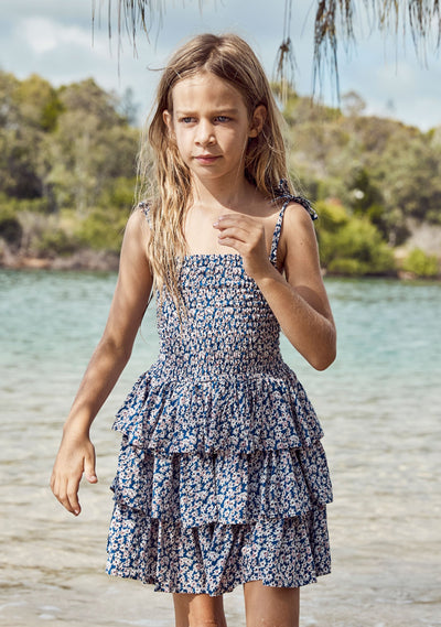 Sweet As Pie Shirred Play Dress Daisy Floral Navy - Auguste The Label