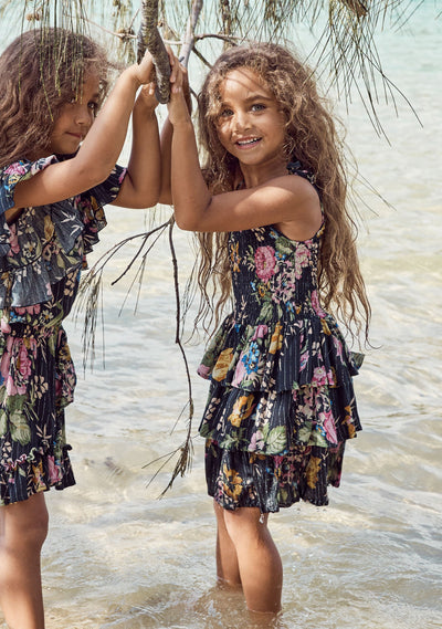 Sweet As Pie Shirred Play Dress Delilah Floral Black - Auguste The Label