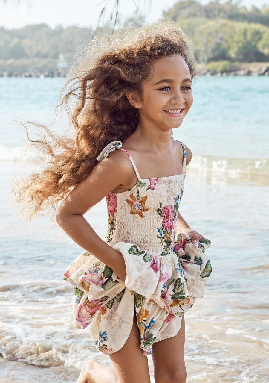 Sweet As Pie Shirred Play Dress Delilah Floral Natural - Auguste The Label